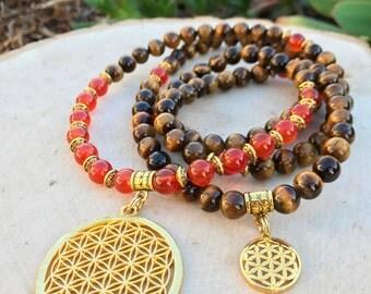 FLOWER OF LIFE Unisex Mala Beads with Tiger Eye & Carnelian   108 Mala Necklace for Men Meditation Yoga   Men's Sacred Geometry Necklace