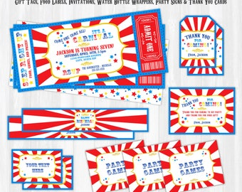 Carnival Birthday Invitations, Carnival Invitations, Carnival Theme Party, Carnival Party Supplies - INSTANT DOWNLOAD - Edit with Adobe NOW!