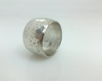 Forged, hammered, recycled sterling silver ring