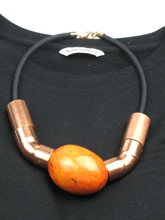 Statement Necklace in Orange Tagua Nut and Copper Tubing with Black Mokuba Cord / Industrial Jewelry by elle and belle
