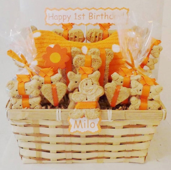 Etsy Dog Gift Baskets : Dog treat gift basket with squeak toy personalized
