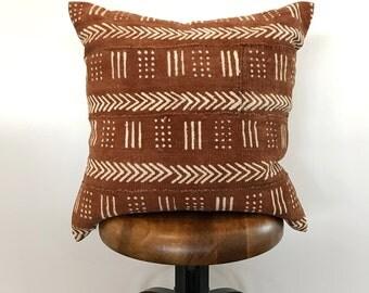 20 x 20  Rust Mudcloth Pillow