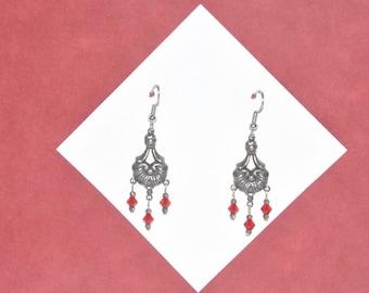 Earrings Silver Filigree Red Crystal Dangle Renaissance Vintage #E04b