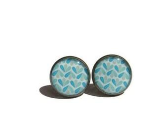 LIGHT BLUE LEAVES earrings - Geometric Earrings - abstract pattern - blue Earrings - blue pattern - Graphic Studs - vintage style - cabochon