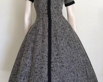 50s Spotty Wool Preppy Day Dress / Small