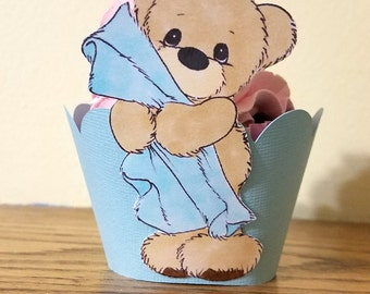 Bear Cupcake Wrapper, Baby Shower Cupcake Wrapper, Cupcake Wrapper For Boy