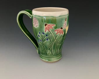 Ceramic Mug Cup With Carved Wildflowers Wheel-thrown by NorthWind Pottery