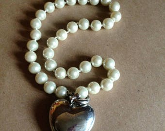 Necklace - silver heart pendant on a pearl beads necklace