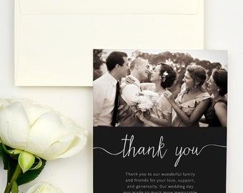 Photo Wedding Thank You Cards - Wedding Thank You Cards with Photo - Wedding Thank You Cards with Note - Wedding Thank You Notes Printed