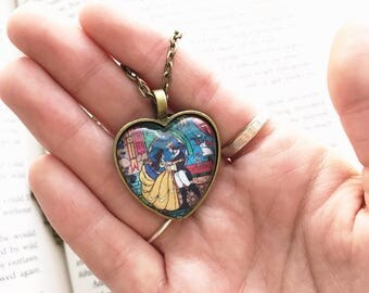 Handmade Beauty and the Beast Heart Necklace, Belle and Beast Stained Glass, Enchanted Rose Necklace, Disney Necklace