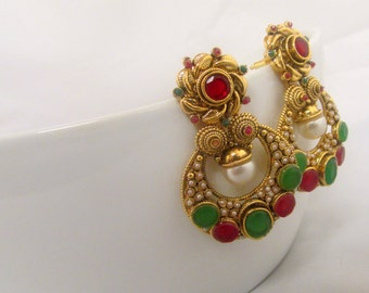 Green and Red Pearl Studded Ethnic Indian Chandelier Earrings