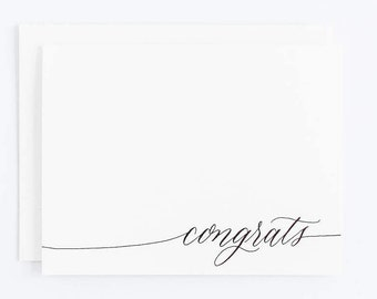 Congrats - Letterpress Calligraphy Greeting Card