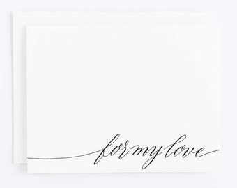 For My Love - Letterpress Calligraphy Greeting Card