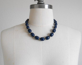 70s, 80s vintage necklace - Monet necklace navy blue beaded necklace - 70s/80s Luncheon necklace