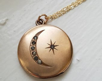 "Antique Victorian Edwardian Crescent Moon and Star Brilliant Gold Filled Locket, No Monogram, Personalized Pendant, 20"" Chain"