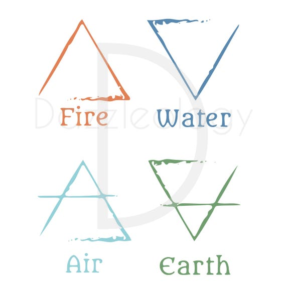 The Ancient Elements Symbols Tribe Tribal Archaic Fire Water