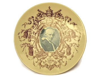 Pope Leo XIII Antique Collector's Plate. Sarreguemines Ceramic Wall Plate.