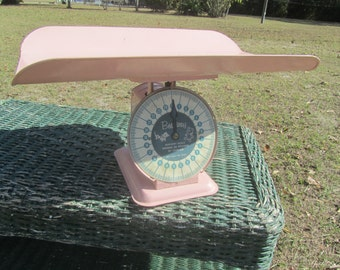 Antique Baby Scale,vintage scale, Baby Shower, Photo Prop, Nursery Decor, pink scale, kitchen scale, best way scale, baby girl,
