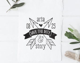 Boho Tribal Wedding Save the Date Stamp - Whimsical Arrows Save the Dates - Rubber Stamp DIY Save the Dates