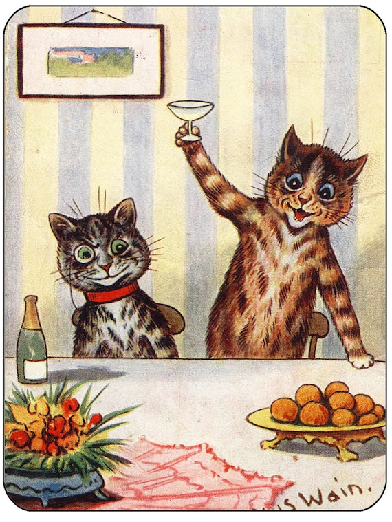 Louis Wain Toasting Cats Mouse Mat Mouse Pad