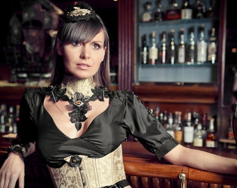 Steampunk Silk Brocade Black Organza Lace Neck Corset Necklace Eclat d'Or Sterling Silver Jewl and Chain Tiger eye Cab
