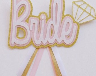 Pink and Gold Glitter Bride Button ; Bridal Shower Decoration ; Bride to be Button ; Bachelorette Party Button ; Pink Gold and White Decor