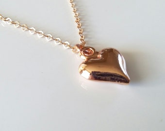 Gifts for her - Mothers day gift - Heart Necklace - Soft Rose Gold Heart - Puff Heart Charm - Gifts for teachers - Bridesmaids