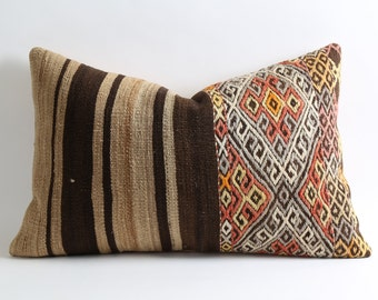 kilim pillow, 16x24 kilim, vintage pillow, home decor, throw pillow, decorative pillow, pillow cover, lumbar kilim pillow, kilim pillows