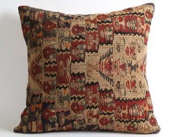 20x20 Ethnic Kilim Pillowcase Vintage Tribal Handwoven Organic Modern Decorative Kilim Pillow Cover Boho Pillow