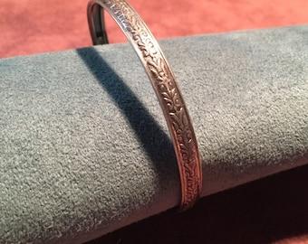 Vintage Danecraft Silver Bangle Bracelet Embossed