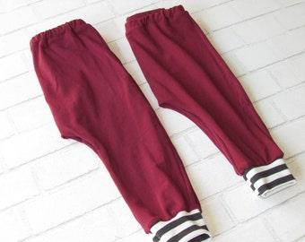 Burgundy Harem Pants // Toddler and Baby Boy Harem Pants