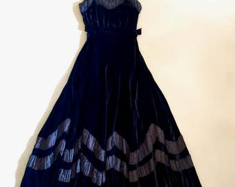 Breathtaking 1930s navy blue velvet evening gown with gathered taffeta trims, full flared skirt and matching bolero jacket