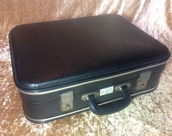 Classic 1960s 'Little Black Suitcase'. BEA Approved! Overnight Bag. Train Case. Carry On Size!