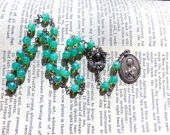 St. Monica Chaplet - Saint Chaplet, Catholic, Seafoam Green / Blue Czech Glass Beads