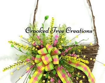 Spring Wreath, Spring Basket, Easter Wreath, Easter Basket Wreath, Easter Decor, Basket Wreath, Spring Door Décor, Spring Floral, Easter