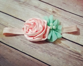 Mint and Peach Headband for babies, toddlers, girls