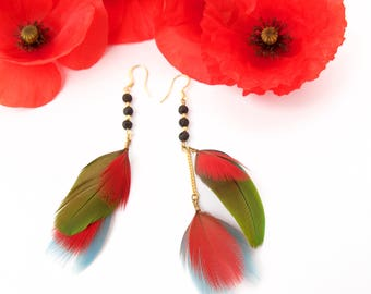 Parrot feathers gilt gold earrings