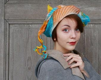 Hand felted designer hat, pastel color felt hat, winter woman hat, unique wearable art, bohemian fashion, funky mod hat, pure wool hat. OOAK