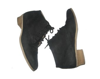 VTG Ipanema Made In Uruguay Black Laced Up Ankle High Suede Leather Upper Other Parts Man Made Grunge Pixie Boho Booties Shoes Boots Size 8M
