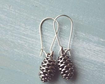 Earrings, Silver pinecone dangle earrings