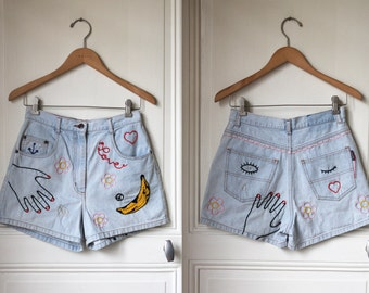 DISCOUNT // BANANA denim shorts hand embroidered flowers peace love diamond pop art embroidery jean shorts light blue denim cutomized