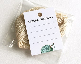 Knitting Crochet Care Tag, Clothing Care, Washing Instructions, 24 Knitting or Crochet Tags, Gift for Knitter or Crocheter, Knitter Tag