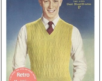 1950's Men's Pullover Vintage Knitting Pattern - PDF Instant Download