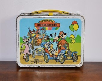 1977 Funtastic World of Hanna Barbera Lunch Box, Yogi Bear Flintstones Jetsons Snagglepuss, 1970s King Seeley Thermos Metal Lunchbox
