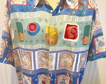 Silk Burma-Biba  Men's  Short Sleeve Button Down Adventure Shirt Men's Size Large