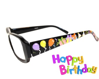 Women's 2.0 Strength Happy Birthday Hand Painted Reading Glasses with Balloons, Gifts, Party Hats, Cupcakes, Birthday Cake, and Confetti