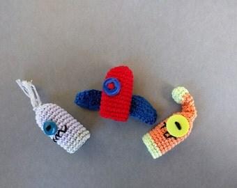 Cute Monster Finger Puppet Set, Amigurumi Finger Puppets, Monster Crochet Finger Puppets, Crochet Toys