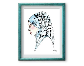 Judge me by whats in my head not what's on my head A4 Art Print - Handmade in UK