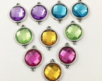 10 connectors  silver tone and resin cabochon 17mm x 22mm #CON 082