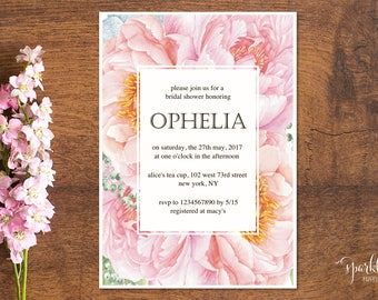 Watercolor Baby Shower Invitation Pink Floral Bridal Shower Invite Digital Format by Sparklefly Paperie